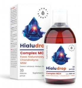 Hialudrop (Kwas hialuronowy, Chondroityna, MSM) 500ml AURA HERBALS