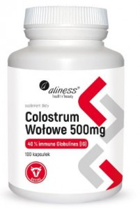 Colostrum Wołowe 40% IG 500mg 100kaps. ALINESS